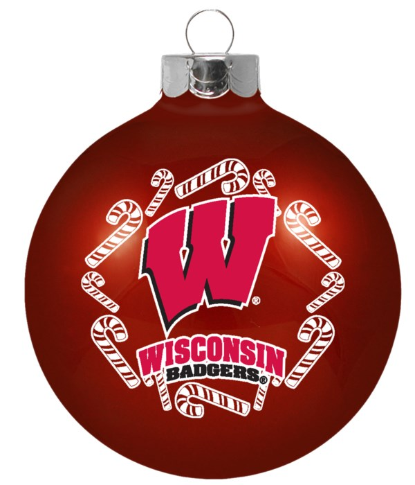 GLASS ORNAMENT - WIS BADGERS