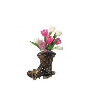 "L10"" Boot Bouquet (Cowboy Boot Vase) 6pc"