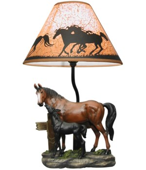 """19.5"""" Equine Love (Brown Horse Lamp) 6pc"""