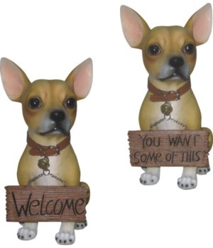 "13"" Chihuahua Figurine with Sign 4PC"
