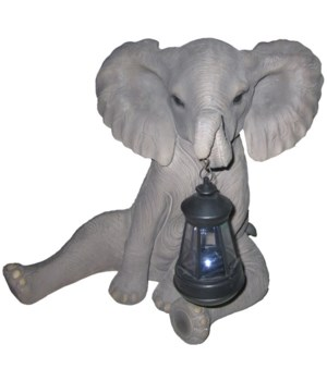 "L14.5"" Elephant w/ Solar Light 1PC"