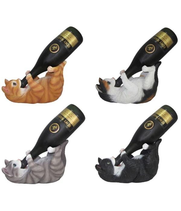 "L9.5"" Cat Wine Holder 4 Asst 8PC/2 Sets"