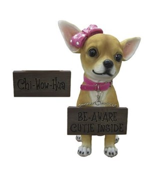 "H12.25"" Girl Chihuahua w/ Sign 4PC"