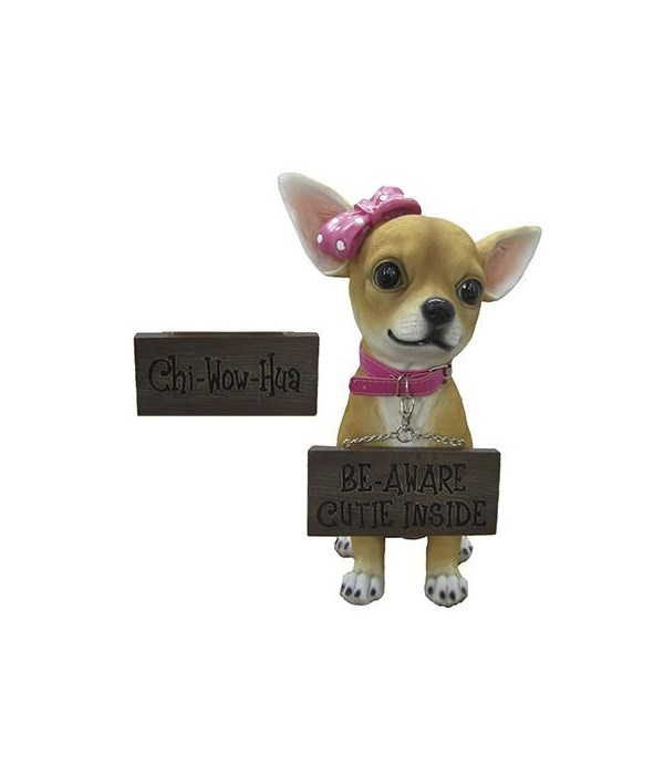 """H12.25"""" Girl Chihuahua w/ Sign 4PC"""