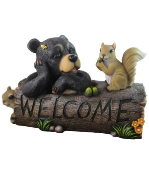 "L14.5"" Bear/Squirrels Log Welcome 1PC"