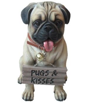 """12"""" Pug Love (Pug Sign) 4pcs/cs"""