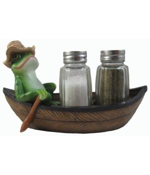 """L7"""" Frog Boat Salt & Pepper Holder 12PC"""