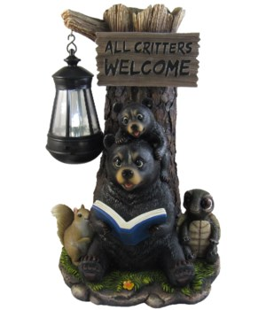 "Bear Reading book lamp 13.5""T /Solar"