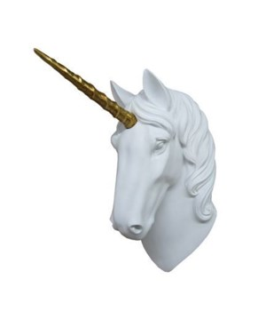 "16"" Unicorn Wall Hanger Gold Horn 1PC"