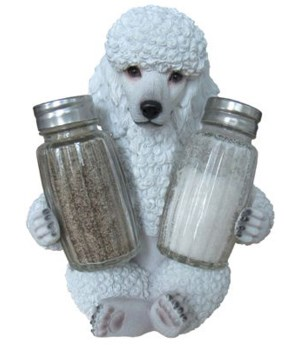 *White Poodle Salt & Pepper Set - 6""