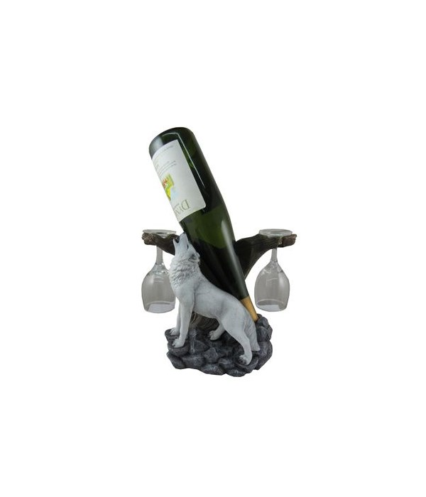 Wolf Wine Holder With Wine Glasses