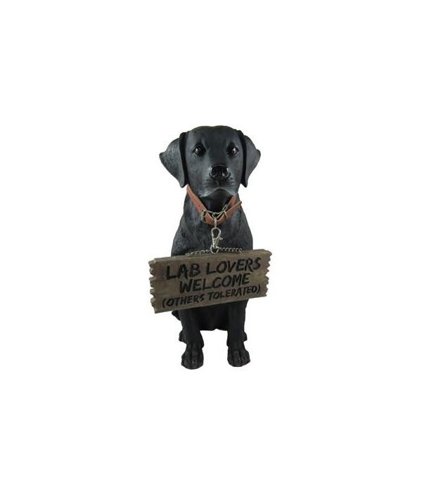 "13"" Black Labrador With Sign 4PC"