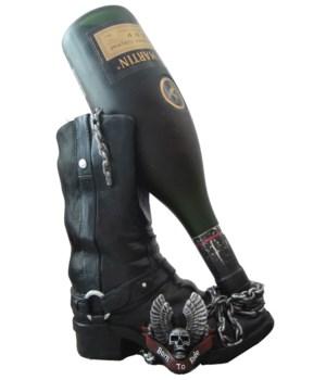 "9"" Born To Ride (Moto Boot Wine Holder)"
