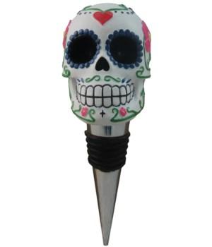 """4.5"""" Sugar Skull Wine Topper 24PC"""