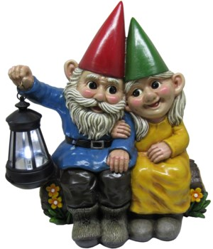 "13.85"" Gnome Couple Lantern 1PC"