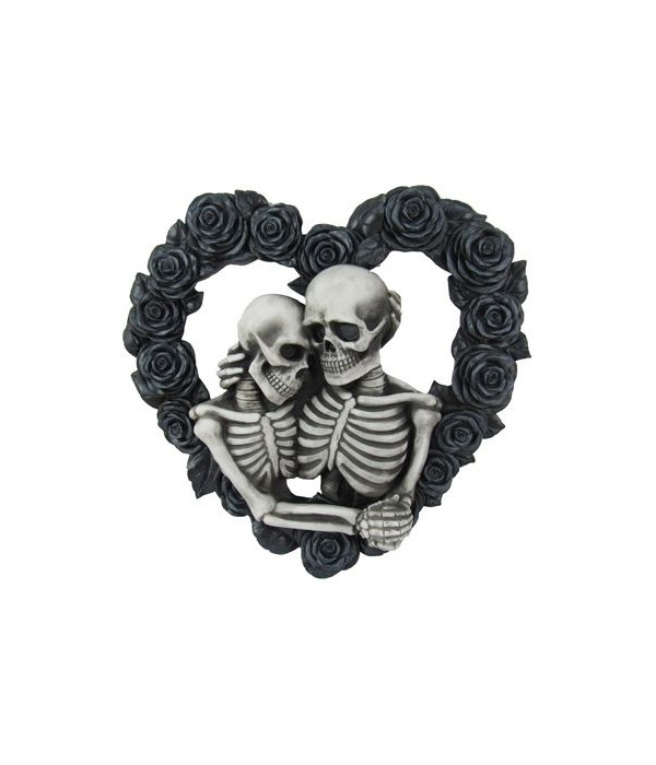 """12.5"""" Skull Couple Heart Wall Hanger"""