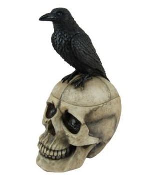 "9.5"" Raven/Skull Trinket Box 6PC"
