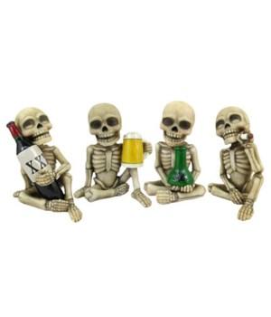 "Skeleton Mini Set (6 Sets of 4)  Bad to the Bone  L3"" H4.25"" W2.75"""