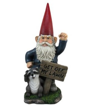 Gnome w/sign - Get Off My Lawn 1PC