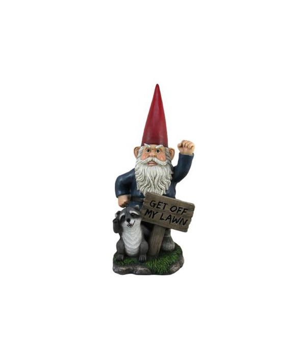 Gnome w/sign - Get Off My Lawn