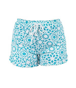 L/XL Turquoise-White Lounge Shorts 2PC
