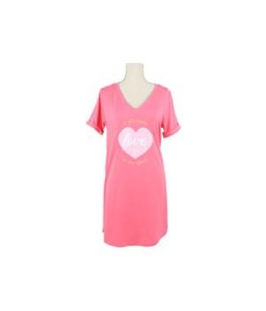 S/M Coral V-Neck Sleep Shirt 2PC