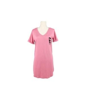 S/M Pink V-Neck Sleep Shirt 2PC