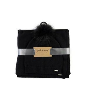 Black Hat & Scarf Knitwear Set 3PC