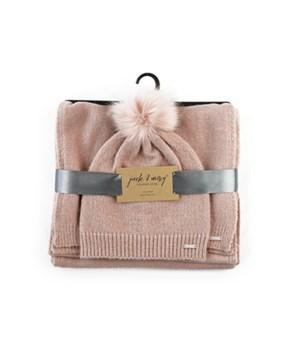 Blush Hat & Scarf Knitwear Set 3PC