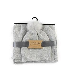 Gray Hat & Scarf Knitwear Set 3PC