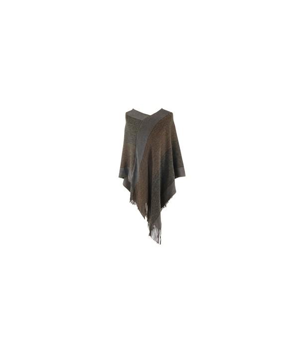 Poncho Brz-Slv-Gry w/Fringe 2PC Refill