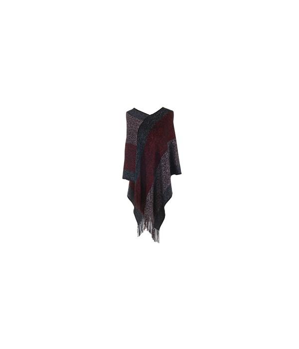 Poncho Red-Slv-Blsh w/Fringe 2PC Refill