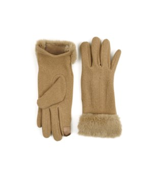 Tan Socialite Fleece Gloves 6PC