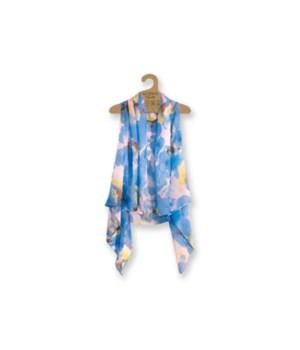 Sheer Vest: Blue/White Floral 3PC