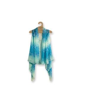 Sheer Vest: Aqua/Turq Zebra 3PC