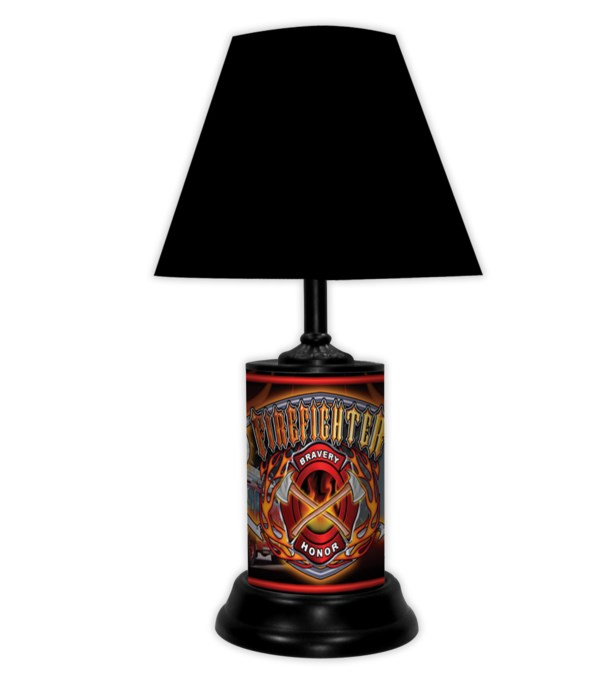 FIRE DEPT LAMP W/ DOG BRAVERY AND HONOR-