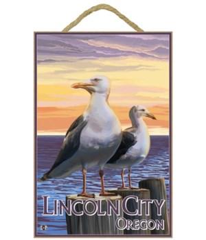 """Sea Gulls - Lantern Press 7x10 Poster """"L"""