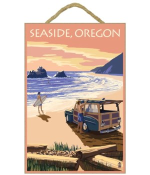 Woody on Beach - Lantern Press 7x10 Post