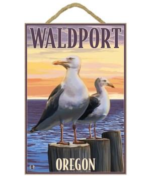 """Sea Gulls - Lantern Press 7x10 Poster """"W"""