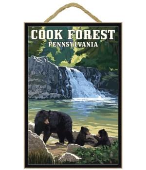 Bear & cubs w/ waterfall in bkgd - Lante