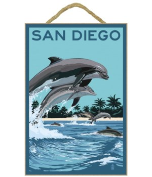 Dolphins jumping & swimming - LP Poster