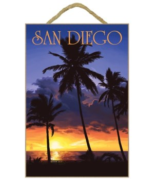 """Palm trees and sunset - LP Poster """"San D"""