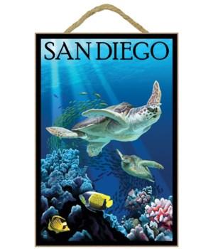 """Sea turtle swimming - LP Poster """"San Die"""
