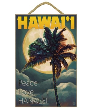 Palms & Full Moon - Hawaii - Lantern Pre