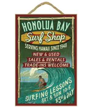 HoFlua Bay - Surf Shop Vintage Sign - L