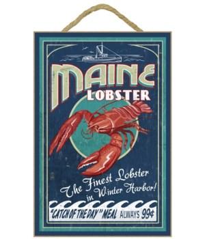 """Maine Lobster Vintage Sign """"Winter Harbo"""