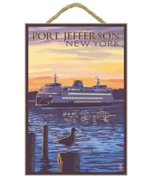Ferry Sunset and Gull - Port Jefferson,
