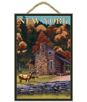 Deer & Cabin in the woods - Lantern Pres