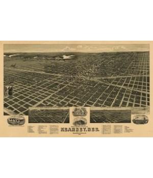 Kearney, Nebraska - Panoramic Map 1889