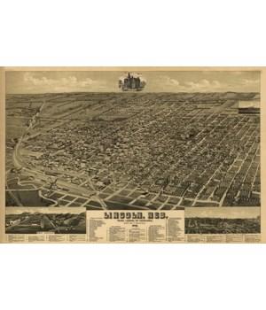 Lincoln, Nebraska - Panoramic Map 1889